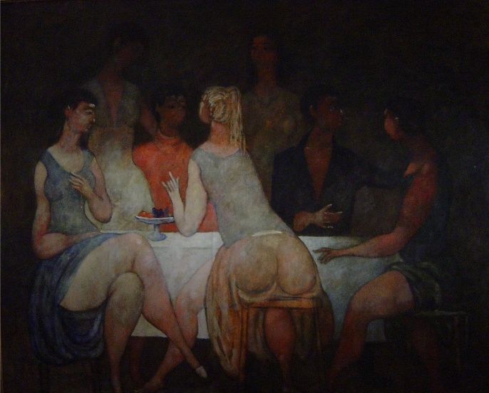 Willem Hofhuizen, Table      Conversation, Oil on canvas 100x120, 1982